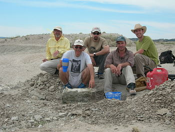 Here the Burke team from 2006 is uncovering a large mammal skull in Wyoming.